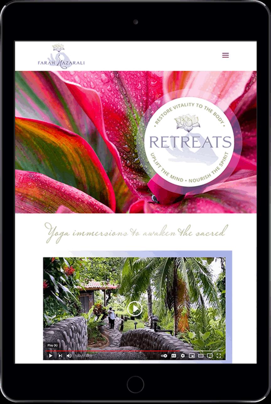 Farah Nazarali - website on iPad