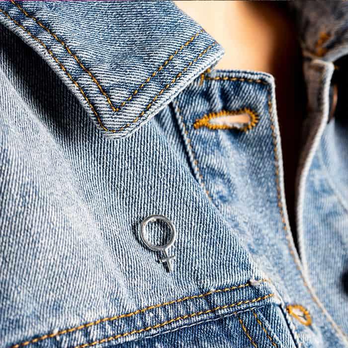 Hillberg & Berk - Empowered Women pin on denim
