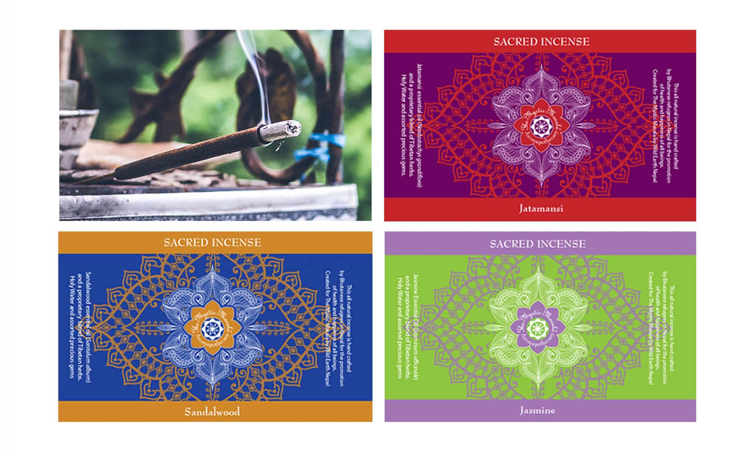 Mystic Masala incense labels